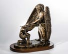 Great Commission angel with male sculpture